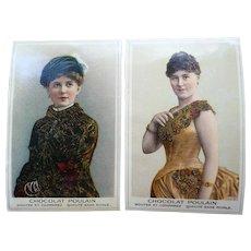Two Beautiful Vintage Chocolat Poulain Fashionable Ladies Trade Cards