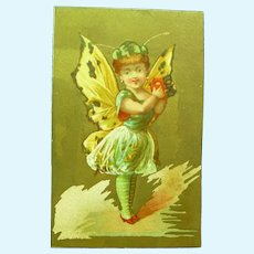 Vintage French Butterfly Girl Trade Card for Doll Display