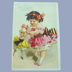 Vintage French 1800's Girl and Doll trade Card for Doll Display