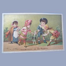 TWO Different Vintage French Children and Dolls Trade Cards for Doll Display