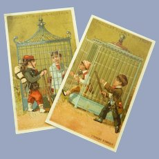 Two Vintage French Late Victorian Chocolate Trade Cards for Doll Display