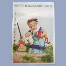 Vintage French Child and Doll Trade Card for Doll Display
