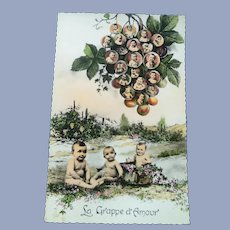 Vintage French Multiple Baby and Grapes Postcard