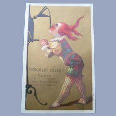 Vintage French Chocolate Trade Card of Clown for Doll Display