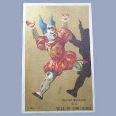 Vintage French Clown Trade Card for Doll Display