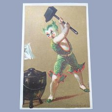 Vintage Victorian French Clown Trade Card for Doll Display