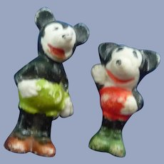 Two Small Vintage 1930's Disney Ceramic Mickey Mouse Figurines