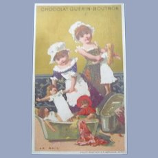 Vintage Victorian French Trade Card of Children and Dolls for Doll Display