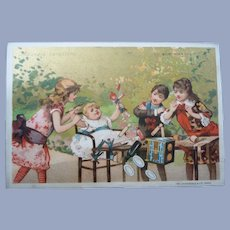 Vintage French 1880's Children and Doll Trade Card for Doll Display