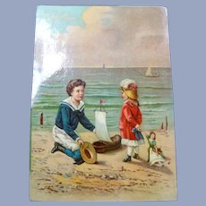 Vintage Large Paper Victorian trade Card for Doll Display