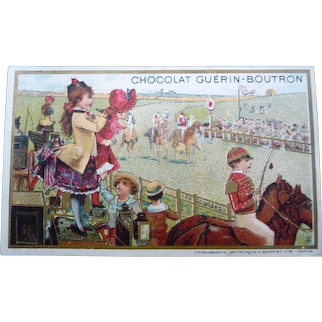 Vintage Victorian French Children at the Races Trade Card for Doll Display