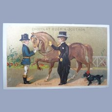 Vintage French Children and Horse Trade Card for Doll Display