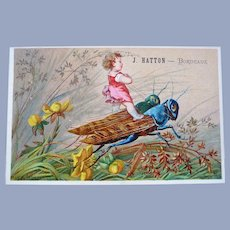 Vintage French Trade Card of Child Riding Bugs for Doll Display