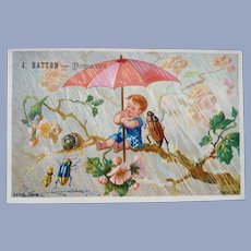 Vintage French Victorian Child and Bugs Trade Card for Doll Display