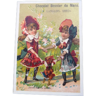 Vintage French Victorian Children and Doll Trade Card for Doll Display