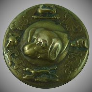 Antique vintage Brass Sporting Dog Button