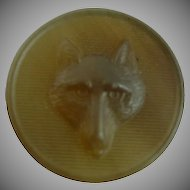 Vintage Horn Fox Button