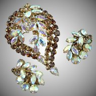 ShermanTopaz and Borealis Signed Pin and Earring set