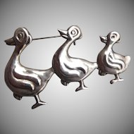 Vintage Mexican Sterling Duck Pin
