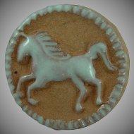 Vintage Pottery Unicorn Button