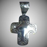 Vintage Engraved Silver Cross Pendant