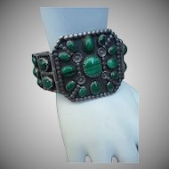 Vintage Silver and Malachite Bracelet
