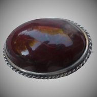 Antique Jasper Agate Silver Pin
