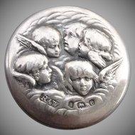 Early Victorian Sterling British Hallmarked Antique Angel Button