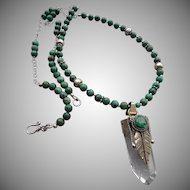 Vintage Chrysocolla and Quartz Crystal Necklace