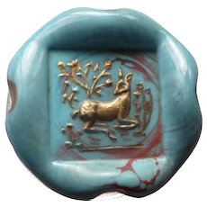 Large Vintage Bimini Glass Button of Deer