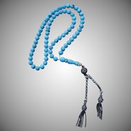 Vintage Persian Turquoise and Silver Prayer Beads
