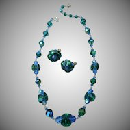 Beautiful Vintage Vendome Sea Green and Blue Necklace and Earrings