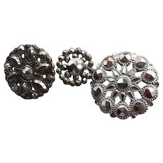 Three Vintage Cut Steel Buttons