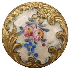 Beautiful Old French Enamel Button - Red Tag Sale Item