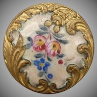 Beautiful Old French Enamel Button