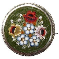 Beautiful Vintage Flower Mosaic Pin