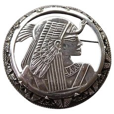 Vintage Egyptian Sterling Silver Pin of Isis