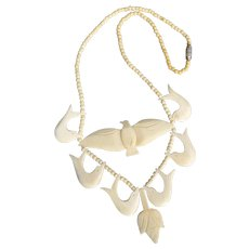 Interesting Vintage Bone Bird Necklace