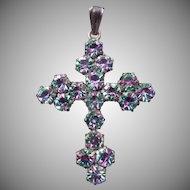Beautiful Vintage Iris Crystal Cross Pendant