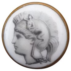 Exceptional large Vintage Porcelain Button of Roman God