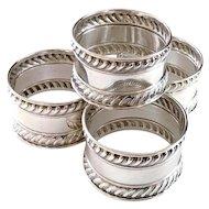 Set of 4 Gorham Sterling Silver Napkin Rings 522 Gadroon