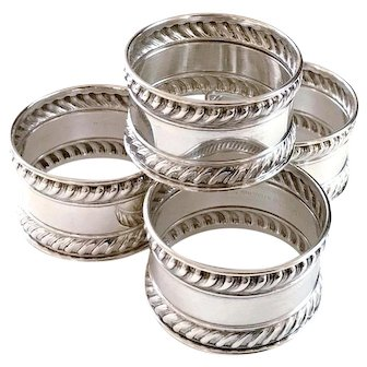 Set of 4 Gorham Sterling Silver Napkin Rings 522 Gadroon