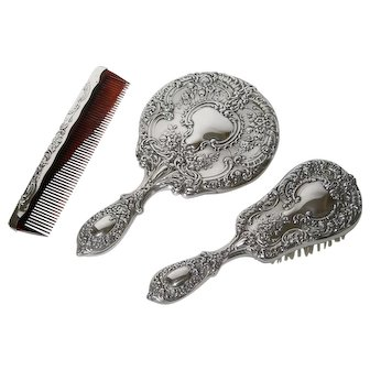 Gorham Sterling Silver Vanity Dresser Set Mirror Brush Comb Buttercup 23 With Patina