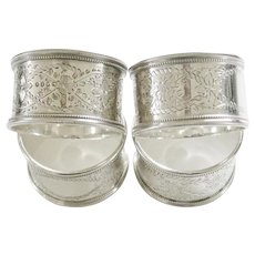 Antique Victorian Sterling Silver Napkin Rings Set of 4 Brittish English London George Adams  1874