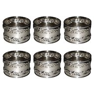 Gorham Melrose Sterling Silver Napkin Rings 1232 Set of 6 Rose Scroll