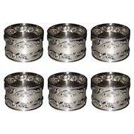 Gorham Melrose Sterling Silver Napkin Rings 1232 Set of 6 Rose Scroll