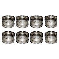 Gorham Melrose Sterling Silver Napkin Rings 1232 Set of 8 Rose Scroll