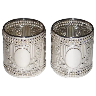 Antique Gorham Sterling Silver 1888 Napkin Rings Set of 2 Art Nouveau pattern 1925 Rare Mint
