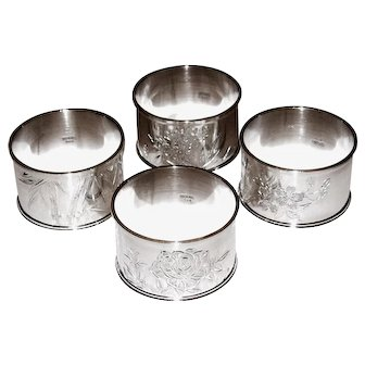 Set of 4 Japanese Sterling Silver Napkin Rings 950 Brite Cut