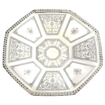 Antique Tiffany & Co Sterling Silver Octagon Footed Centerpiece 1914 Serving Fruit Plate Dish Bowl Tray Large 18757A